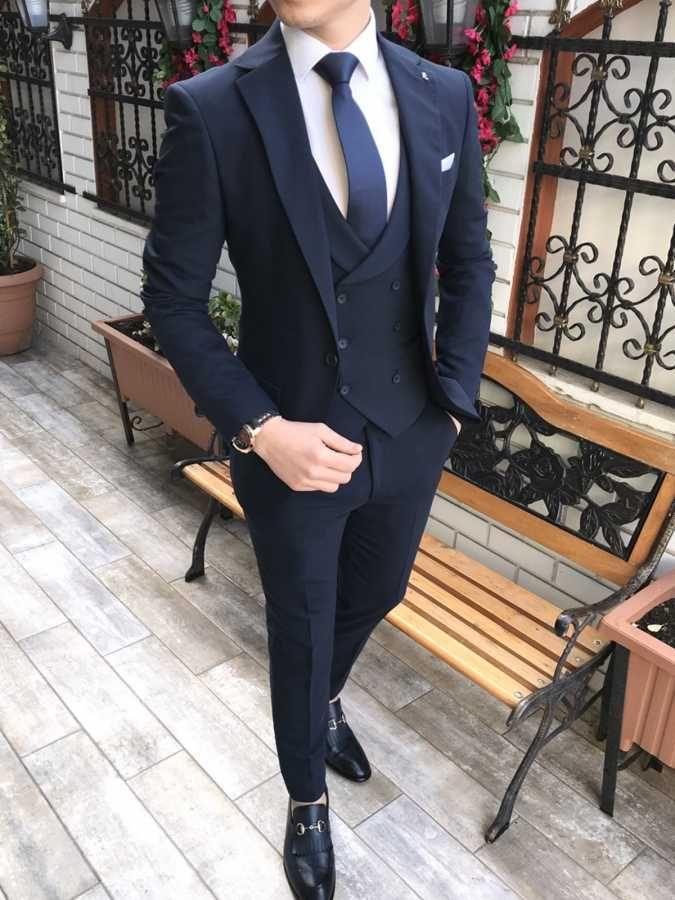 Italian style men's coat vest pants navy blue suit T2265