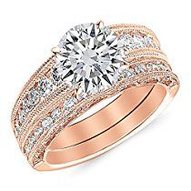 1.6 Carat 14K Rose Gold Antique / Vintage Style Channel Set Round Diamond Engagement Ring with Milgrain with a 1 Carat Moissanite Center