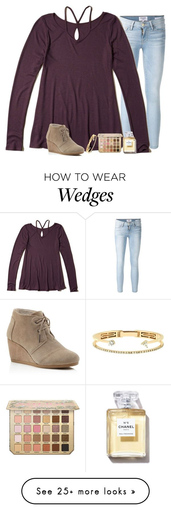 """""""simple but cute"""" by alexislynea-804 on Polyvore featuring Frame, Hollister Co., Delfina Delettrez and TOMS"""