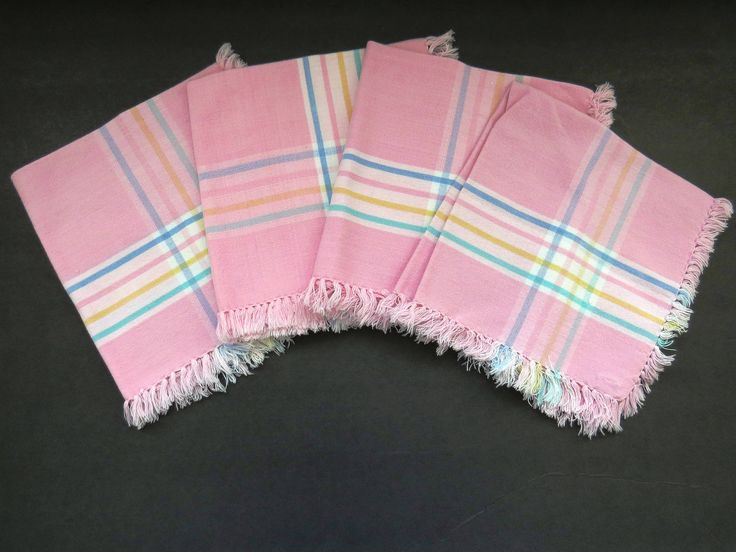 Pastel Pink Napkins - Set of 4 - Pink Blue Yellow Green Stripes - Vintage Table Linens - Collectible - Picnic Basket Camping RVs Glamping by shabbyshopgirls on Etsy