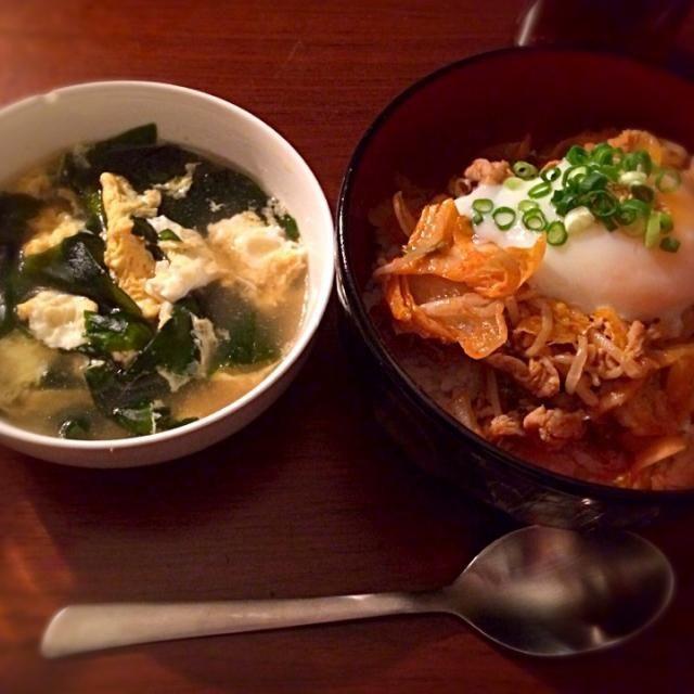 簡単においしく出来ました(^ω^)♪ - 11件のもぐもぐ - 豚キムチ丼&ワカメと卵のスープ by miiiih28