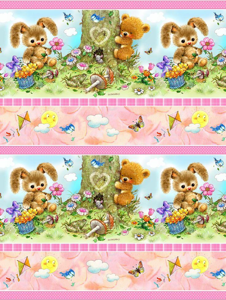 Baby girl fabric panels baby fabric bunny fabric spx for Baby girl fabric
