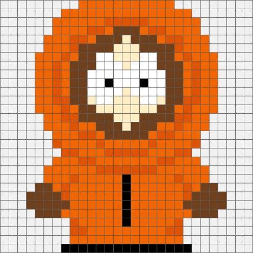 South Park Kenny McCormick Hama Bead  / Cross-stitch pattern