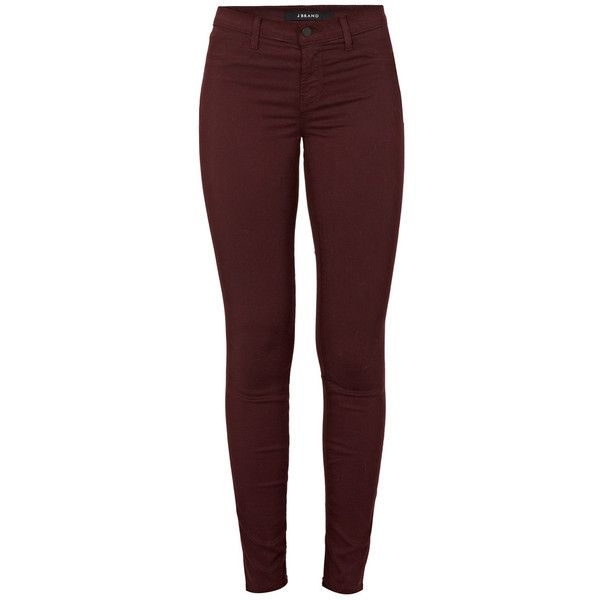 J Brand Mid-Rise Jeans ($265) ❤ liked on Polyvore featuring jeans, pants, mulberry, red skinny jeans, skinny jeans, j brand, mid rise skinny jeans and j-brand skinny jeans