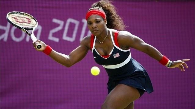 Serena Williams of the USAplays a forehand during the women's Singles Tennis match against Urszula Radwanska of Poland