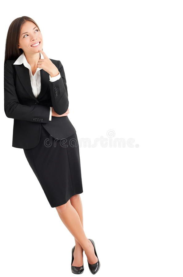 Business Woman Thinking Leaning Businesswoman Thinking Leaning On