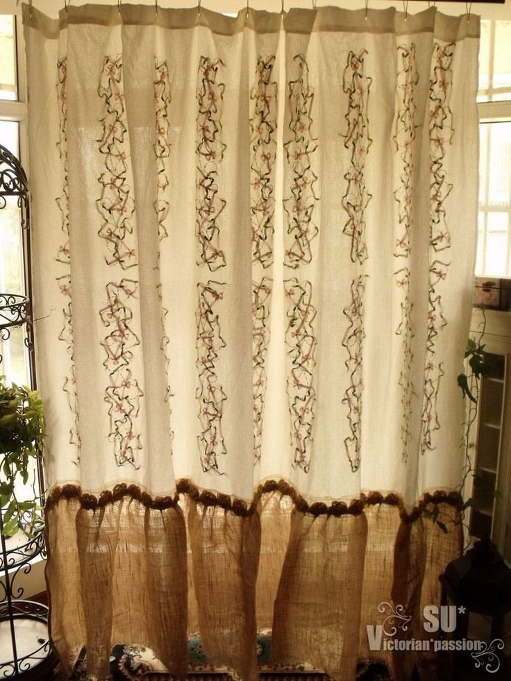 94 Wide Long Hand Emb Shabby Rustic Chic Burlap Shower Curtain Ruffle Flower