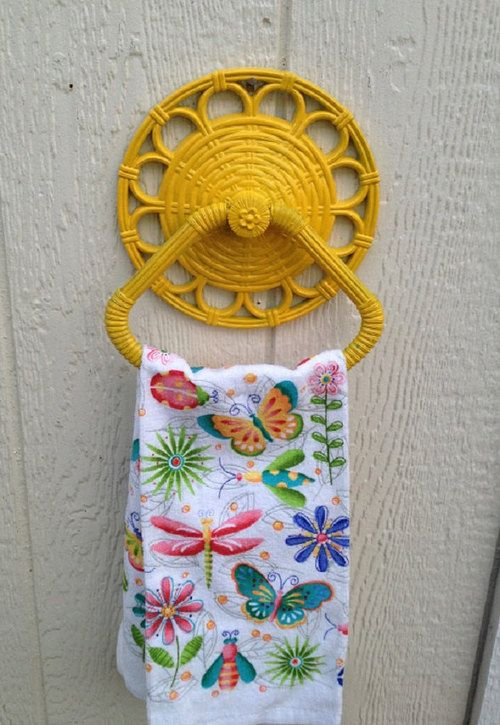 Yellow Painted Towel Hanger, Vintage Wicker Wall Decor, Reclaimed Yellow Bathroom Wall Hanger, Towel Dispenser by @StartathomeVintage | classic as a wicker chair.