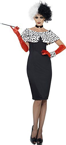 Smiffys Womens Evil Madame Costume Dress Gloves Shrug Cuff and Choker Wings and Wishes Serious Fun Size 1416 32806