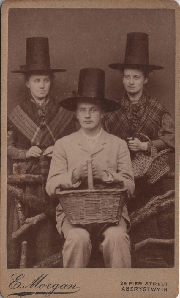 CDV Victorian Girls Man in Traditional Welsh Costume Hat - Morgan of Aberystwyth
