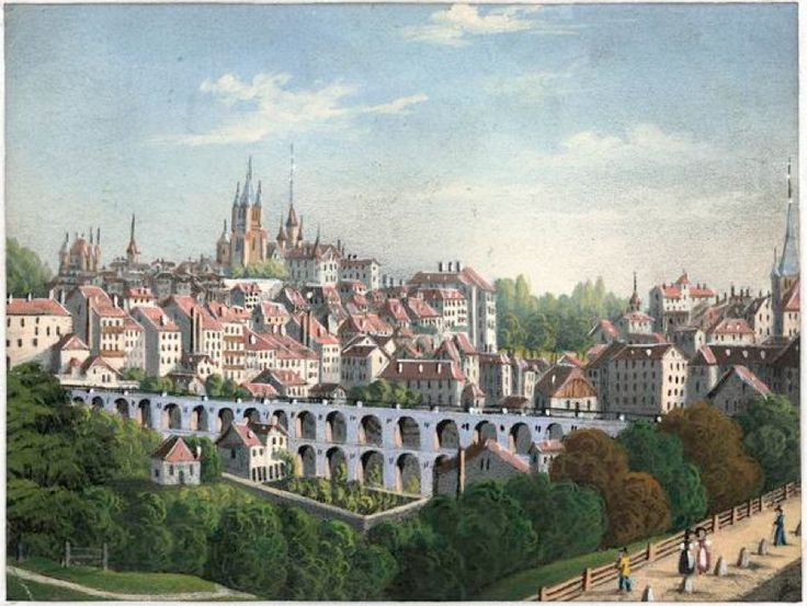 Lausanne 1850 La place de l'Europe n'est encore qu'une vallée quasiment à l'état sauvage! Le Grand-Pont ou pont Pichard fut commencé au début de 1839 et achevé le 6 octobre 1844 (date de l'inauguration) sous la direction de William Fraisse, aidé probablement par l'architecte Henri Perregaux. Avant le comblement du Flon, il comportait deux séries d'arches superposées (hauteur maximale: 25 m, longueur: 180 m) exécutées en moellons de Meillerie taillés au marteau. Sur le parapet des bancs de…