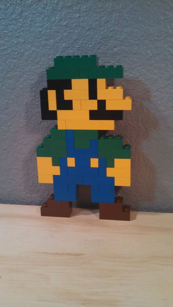 LEGO Super Mario Brothers pixel Art 3d / 2d Luigi door JediReSale, $9.99