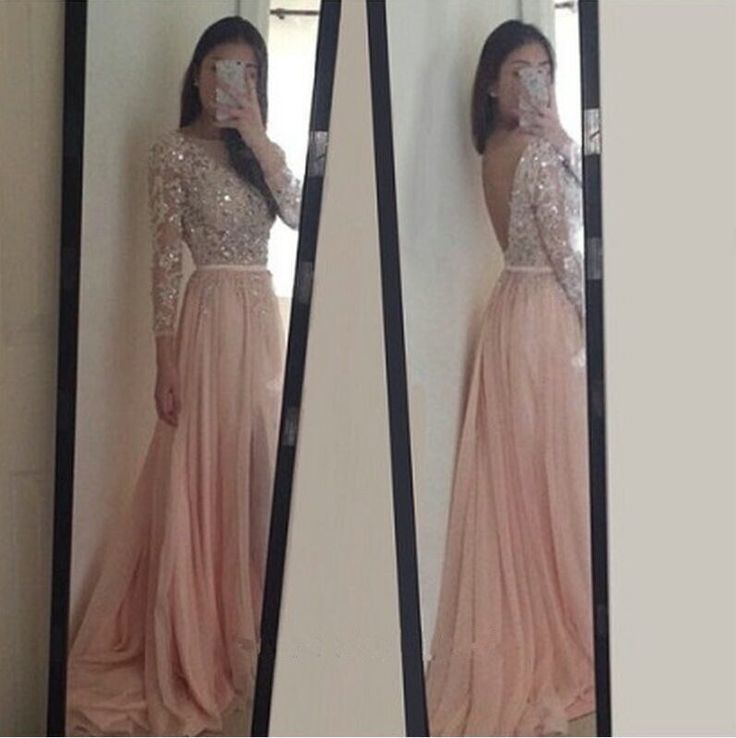 Prom Dresses Sexy Backless Long Sleeves Boat Neck A Line with Sequins Beaded…