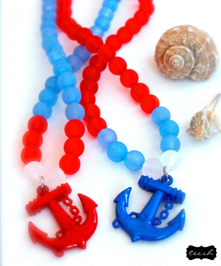 Teesh Anchors Away Frosted Necklace. Coming soon to Wholesale Baby #teesh #wholesalebaby #necklace #wholesale #accessories #beads #frosted