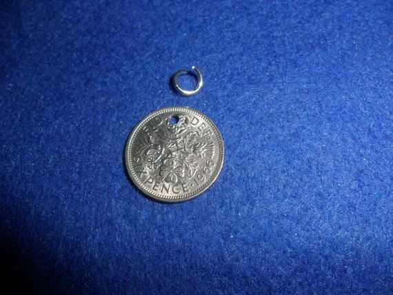 Old British coin Silver Sixpence Charm for a bracelet or