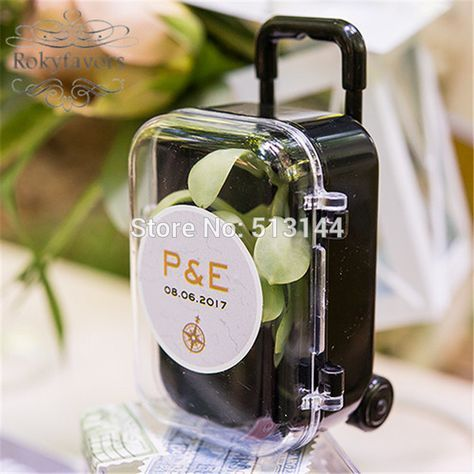 FREE SHIPPING 100PCS Clear Mini Rolling Travel Suitcase Favor Box Wedding Favors Party Reception Candy Package Baby Shower Ideas-in Gift Bags & Wrapping Supplies from Home & Garden on Aliexpress.com | Alibaba Group