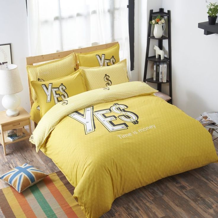 Cheap bedding quilt, Buy Quality bed set directly from China bedding set Suppliers: Hot Yellow Bedding Set Time Is Money Letter Pattern Bed Set Bed Linen Bedding Quilt Cover Bed Sheet Pillowcase 4pcs Queen Size #DesignerBedSheets