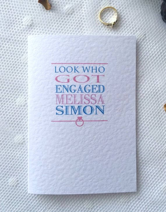Personalised Look who got Engaged Congratulations by ATouchOnPaper