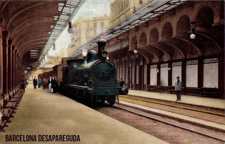 Andana del baixador del C. Aragó i Passeig de Gràcia. Principis del segle XX. Publicada per Giacomo Alessandro.