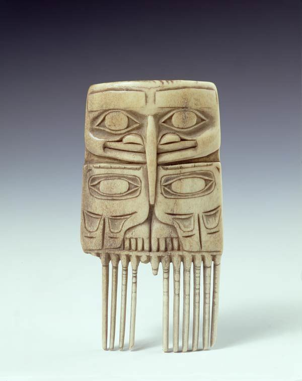 Comb, Late 18th century  North America : Tlingit Caribou antler. This well preserved comb was collected from among the Tlingit in 1794, during Vancouver's voyage in the Pacific. It possibly depicts the much revered mythical raven, capable of transforming himself into many guises, with humanoid features and wearing his wings as a cloak. His broad beak delineates the form of the wings, enclosing the eyes and other shapes which stand for joints and,,,