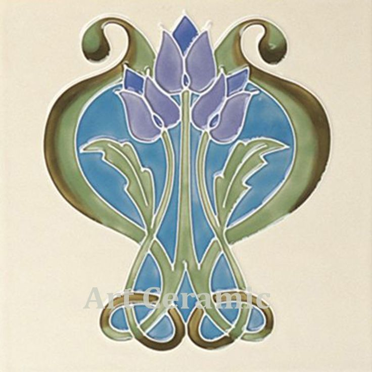 Art Nouveau Ceramic decorative wall tile 6 X 6 Inches #39