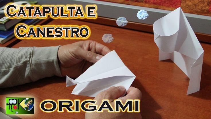 Origami facili e veloci. Catapulta e canestro. Origami easy and fast