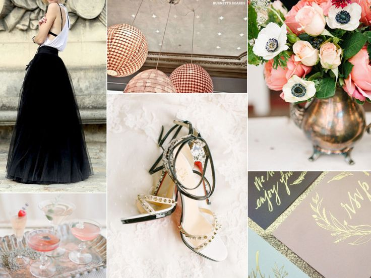 Love this inspiration - chic punk wedding inspiration with a black tulle skirt