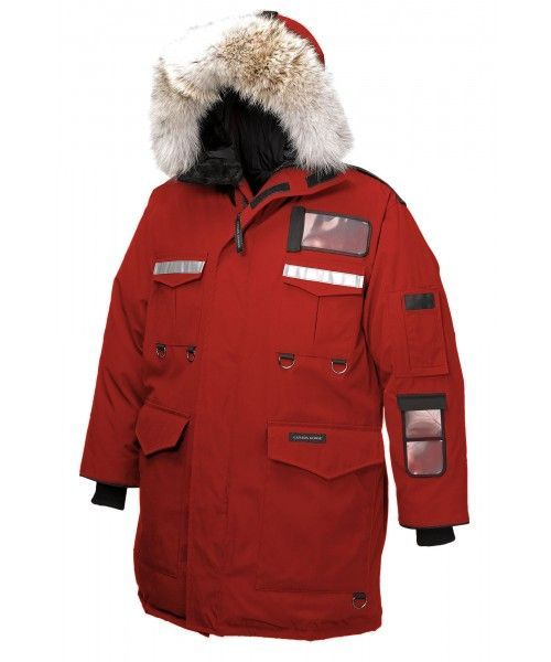 CANADA GOOSE RESOLUTE PARKA MEN Red 8501M Reinforced design for industrial protection in extreme Arctic conditions.