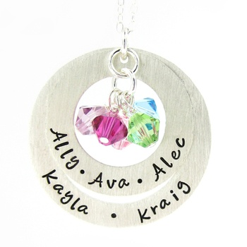 My Family Necklace with birthstones - Mothers birthstone jewelry - Hand stamped Sterling Silver Necklace (NN043)