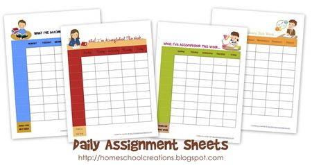 Daily Assignment Sheets printable - sheets for boys and girls. If only my printer weren't out of ink!!!