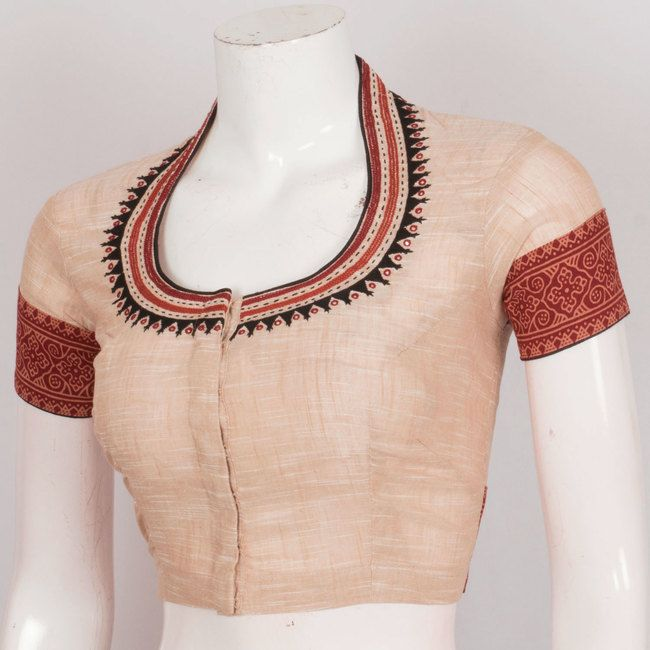 Handcrafted Cotton Blouse With Collar Neck, Embroidery & Mirror Work 10022944 - AVISHYA.COM