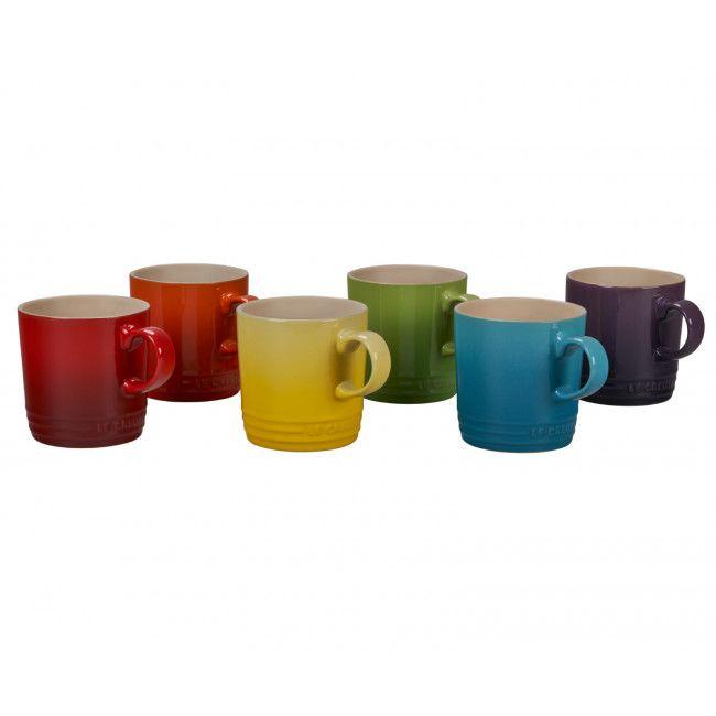 Lecreuset Rainbow Collection Mugs Set Of 6 Mugs Le Creuset Stoneware Mugs Set