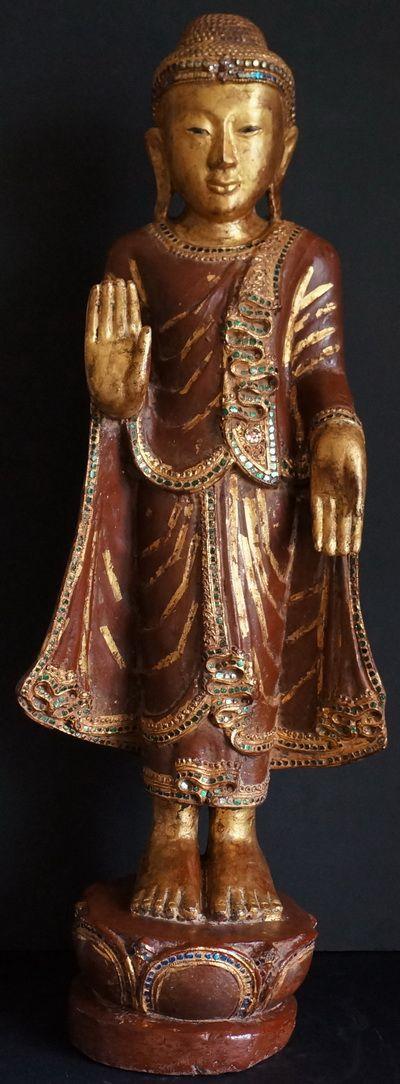 photos of antique buddahs | Antique Burmese Mandalay Teak Wood Buddha Statue | Golden Triangle ...