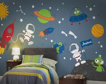 [ Boy Galaxy Children Rocket Ship Wall Decal Walls Sticker Decor Window  Design Earth Planet Stickers ]   Best Free Home Design Idea U0026 Inspiration Part 30