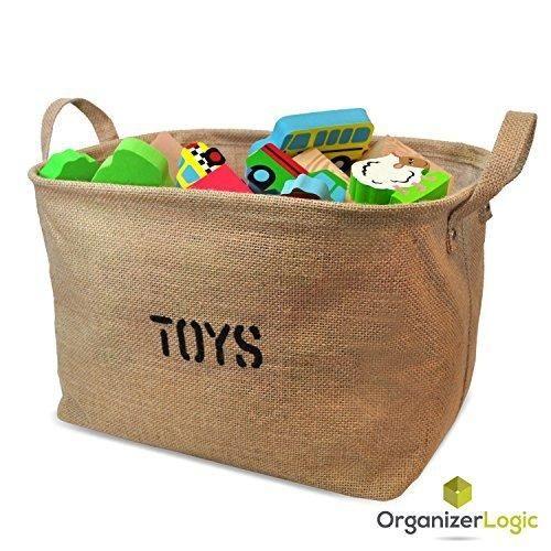 Jute Storage Bin Eco-Friendly for Toy Storage - Storage Basket for organizing Baby Toys Kids Toys Baby Clothing Children Books Gift Baskets.