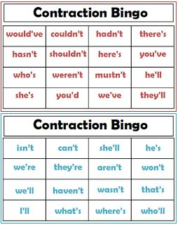 Teacher's Take-Out: Contraction Bingo Game- Freebie!