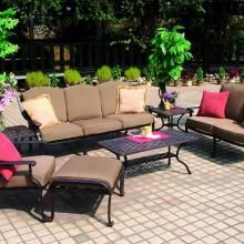 This 6-person patio deep seating conversation set features the southwestern-style accents of the Ten Star collection. - Darlee Ten Star 6-Person Cast Aluminum Deep Seating Patio Conversation Set - Antique Bronze