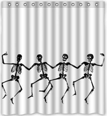 """Купить товарПользовательские череп скелет танец хэллоуин занавески для душа 60 """" x 72 """"   ванная комната декор ( ткань ) в категории Занавески для душана AliExpress.             Душ занавес                   Разработанный, чтобы соответствовать Стандартизированные ванны Предотвра"""