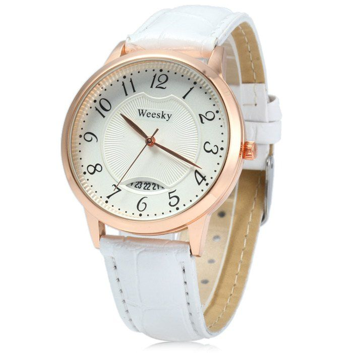 SHARE & Get it FREE | Weesky Leather Band Date Display Quartz Watch Golden Case for WomenFor Fashion Lovers only:80,000+ Items • New Arrivals Daily • Affordable Casual to Chic for Every Occasion Join Sammydress: Get YOUR $50 NOW!