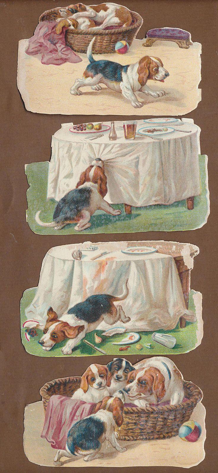 S10410 Victorian Die Cut Scraps: 4 Puppy Scenes   eBay