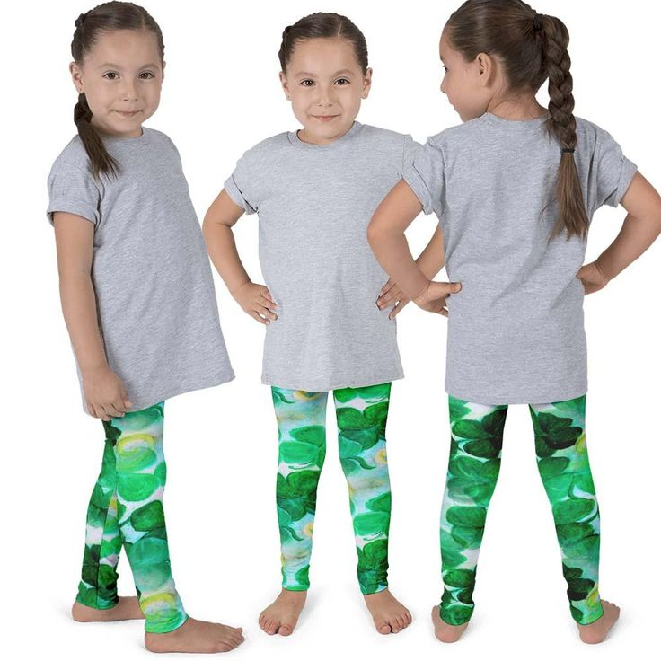 St Patrick's Day Clovers kid's leggings from my art