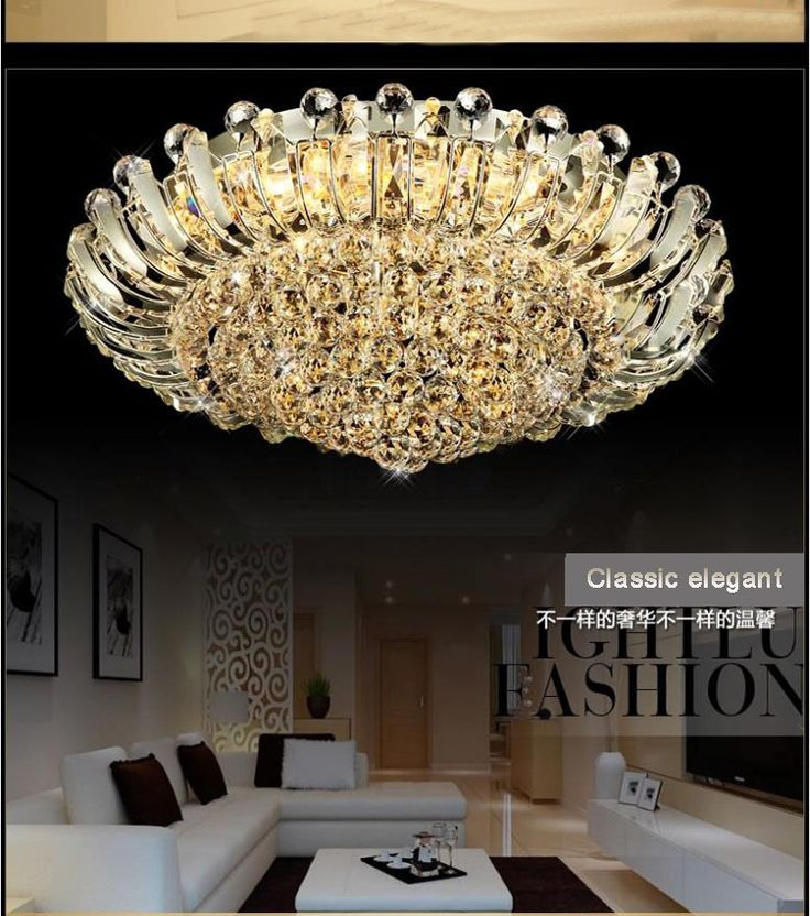 Modern Crystal Chandeliers Lighting Fixture Luxurious Flush Mount Led Ceiling With Remote Control