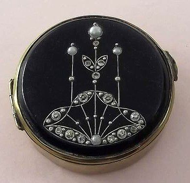 Antique Vintage ART DECO BLACK ENAMEL PASTE STONE & SEED PEARL COMPACT c1920