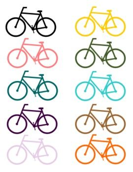 12 colorfu; bicycle silouette clip art files in a compressed .zip folderThese cuties are great for educational products, scrapbooking, or blog dcor!Can be used for personal or commercial products. May not be resold as clip art.Credit is always appreciated!