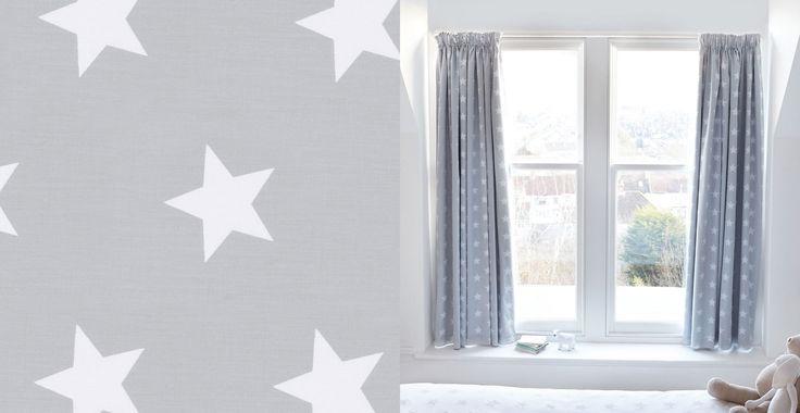 Children's Blackout Curtains - Grey Star