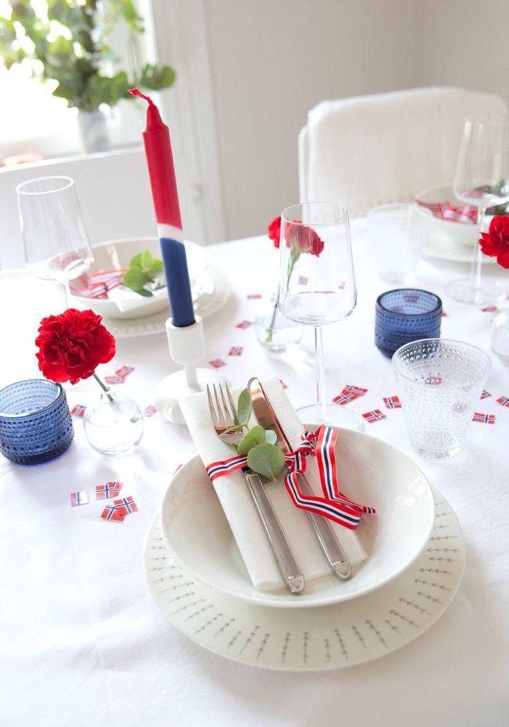 Borddekking til 17.mai // Table setting for national day - Kreativ-i-tetblogg.com
