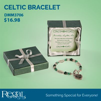 """IRISH EXPRESSIVELY YOURS BRACELET  May this Celtic knot of friendship be forever at your side, to bring you love and laughter and lots of Irish pride! Stretch bracelet in gift box. Poem inside box: Friendship, Laughter, Love. May this Celtic knot of friendship be forever at your side, to bring you love and laughter and lots of Irish pride! 7-1/2""""L"""