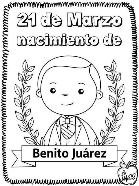 tu tarea: 21 DE MARZO para colorear | Benito juarez para ...
