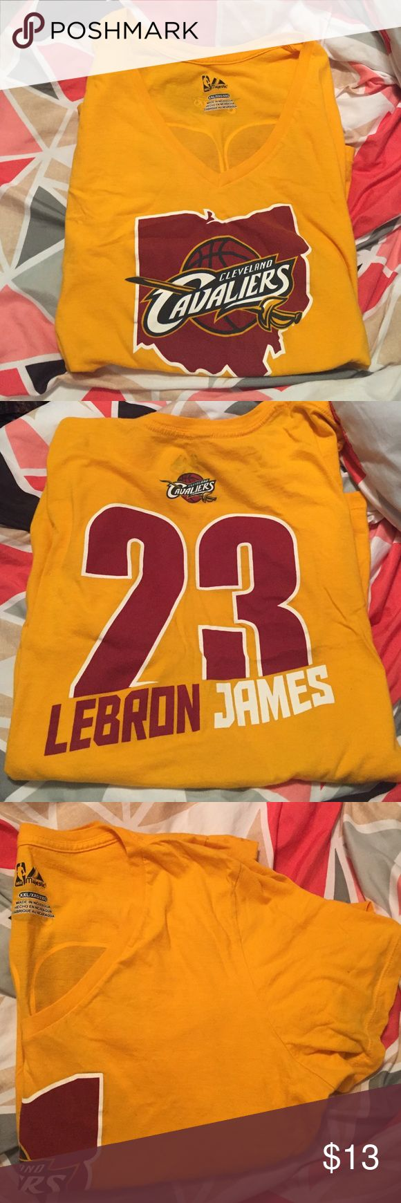 LeBron James Cleveland Cavaliers Tee Worn ONE time!! Perfect condition. Features LeBron James number on the back, Ohio on the front and short sleeves. Fits more like a large or maybe XL. Majestic Tops Tees - Short Sleeve