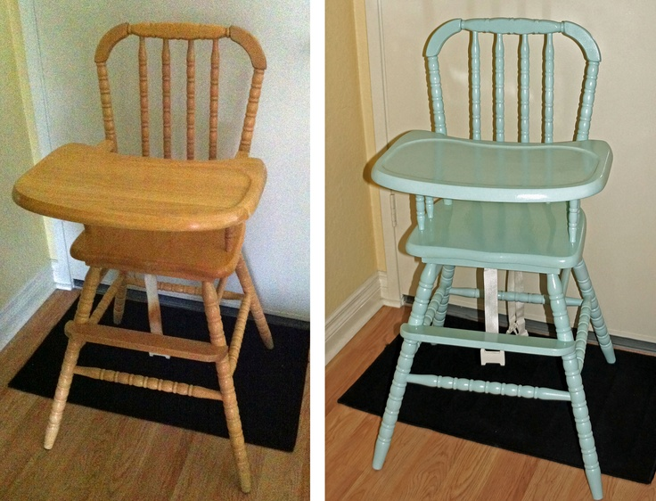 Painted Jenny Lind Antique Vintage High Chair Before and After